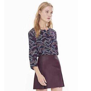 Express cloud print zip front blouse